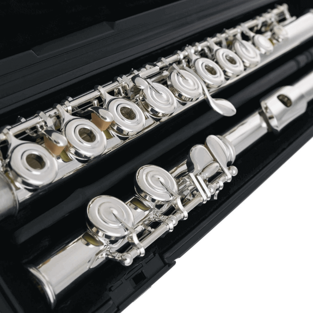 Flauta Transversal Yamaha YFL282 prateada chaves abertas