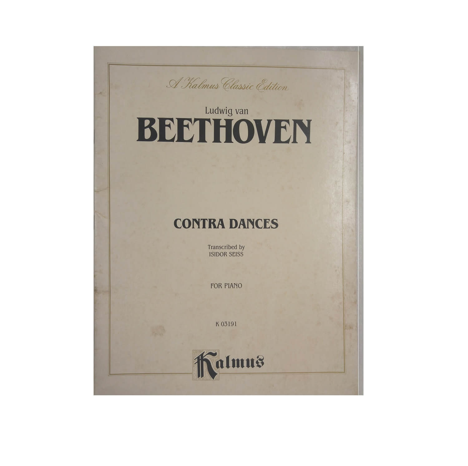 Ludwig van Beethoven Contra Dances Transcribed by Isidor Seiss for Piano K03191