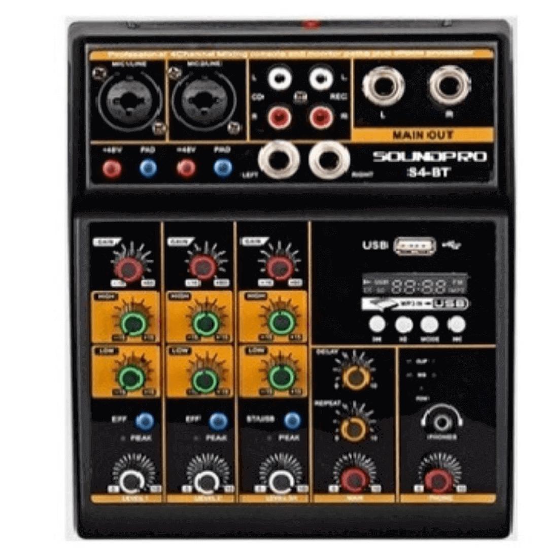Mesa de Som 4 Canais USB Soundpro S4BT