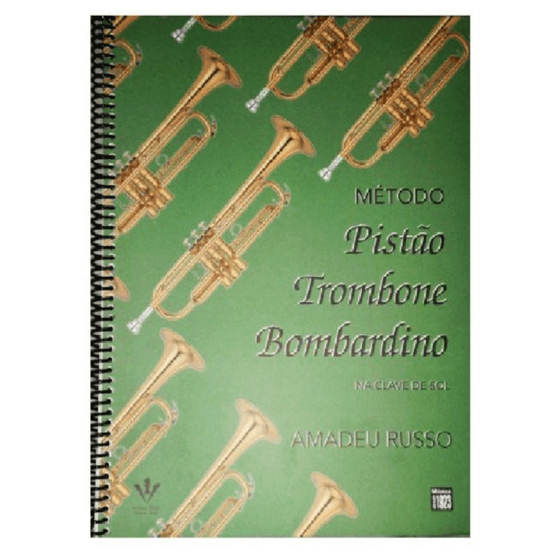 Método Pistão Trombone, Bombardino, Tuba na Clave de Sol - Amadeu Russo - 46M