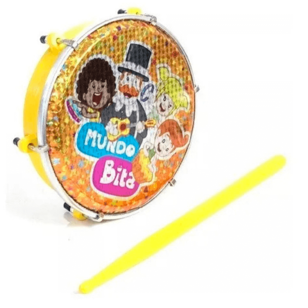 """Tamborim 6"""" Infantil ABS Amarelo Pele Mundo Bita com Baqueta Luen 60047 MBAM"""