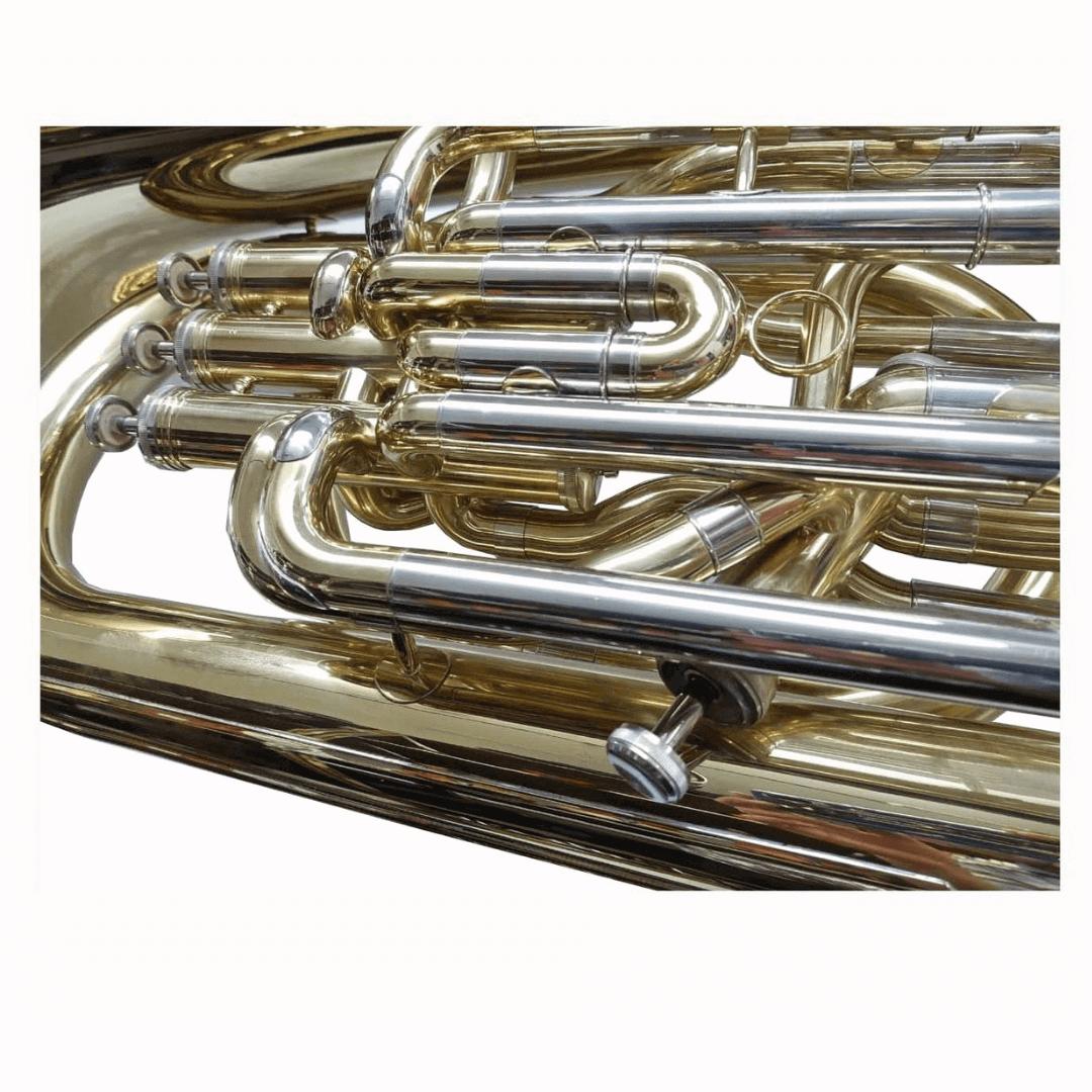 Tuba Eb (Mi Bemol) 3 Pistos + 1 Compensado lateral Ascent JBEB700 Acabamento Laqueado Dourado