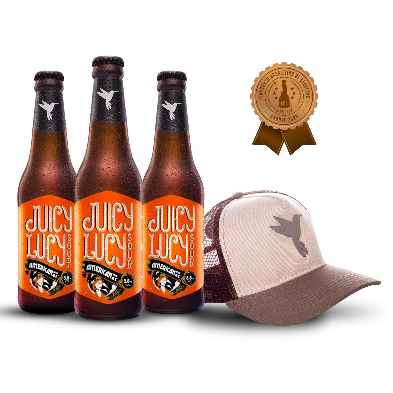 Kit 3 cervejas Premiadas Juicy Lucy + Boné de Brinde