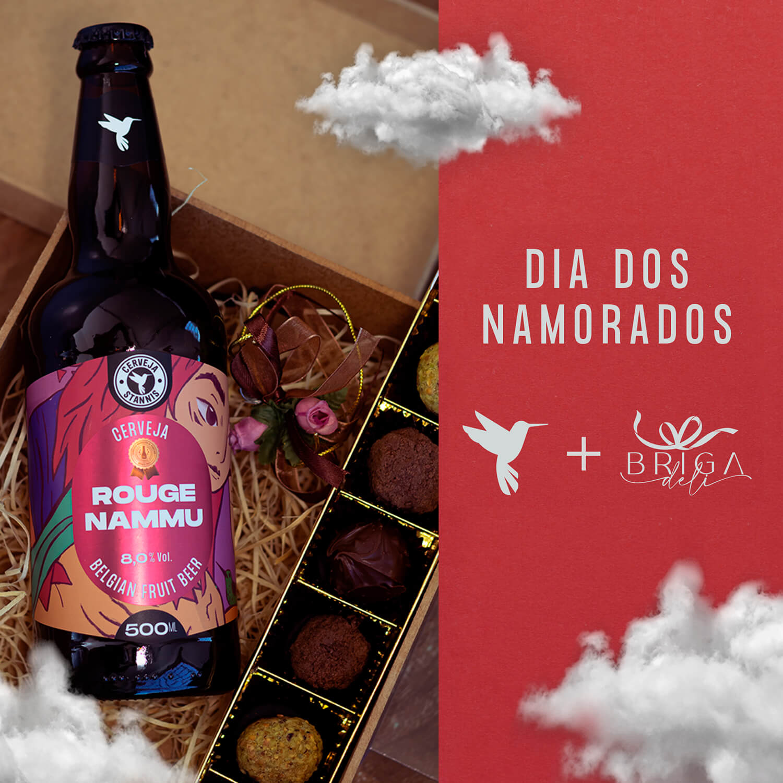 Kit Rouge Nammu + Trufas Belgas Brigadeli + Caixa de presente personalizada