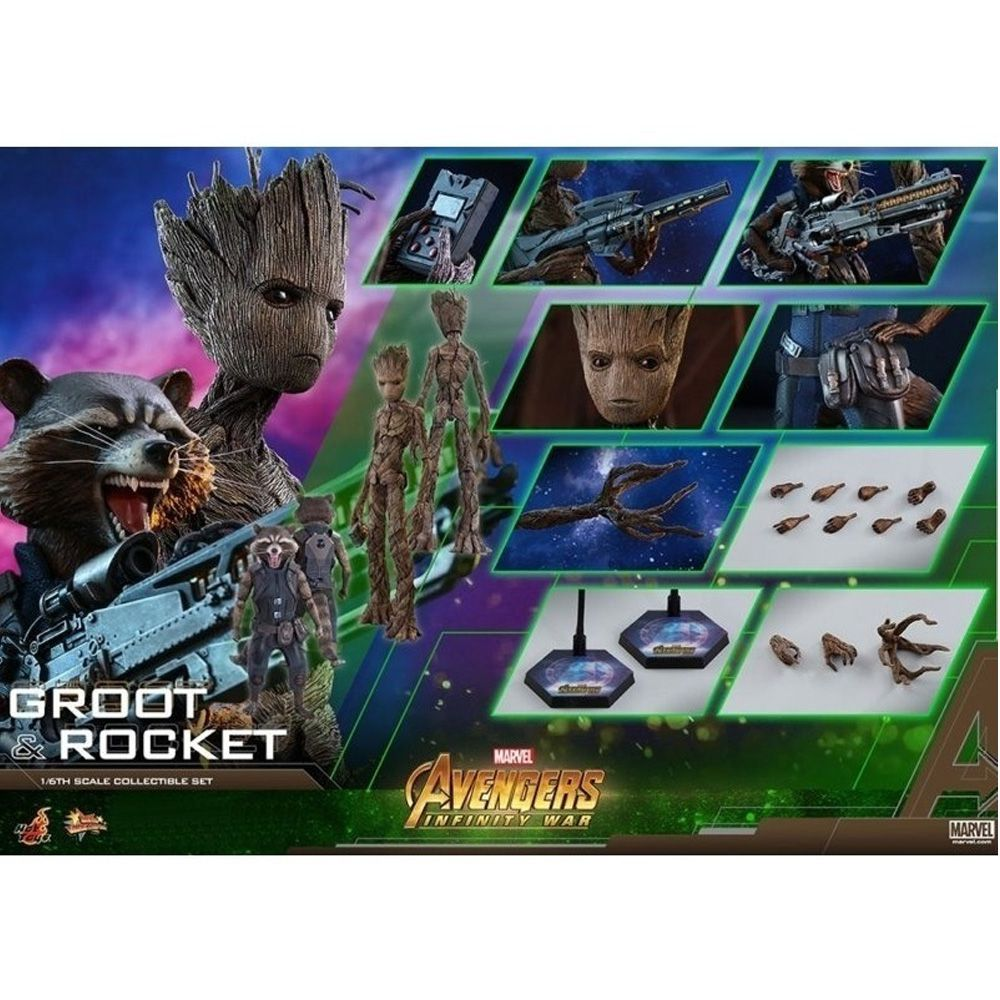 Hot toys Infinity War Groot & Rocket Racoon set - 1/6 Figure mms476
