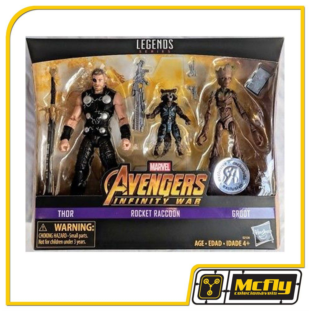 MARVEL LEGENDS THOR ROCKET GROOT EXCLUSIVO