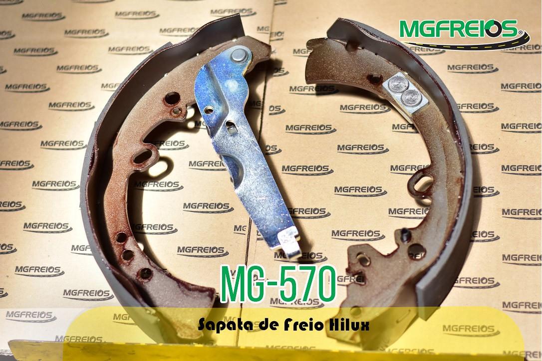 MG-570 - Jogo de sapata de freio c/ lona c/ haste (2 rodas) Toyota