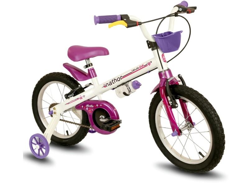 Bicicleta Nathor Bella Aro 16 Branca/Roxa