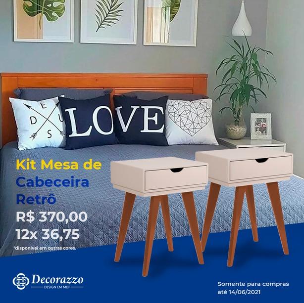 KIT 2 MESAS DE CABECEIRA RETRO 1 GAVETA