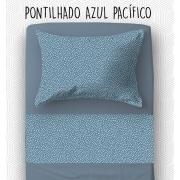 Jogo Solteiro - Pontilhado Azul Pacífico