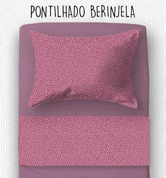 Jogo Solteiro - Pontilhado Berinjela