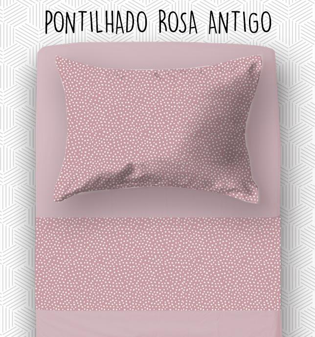 Jogo Solteiro - Pontilhado Rosa Antigo