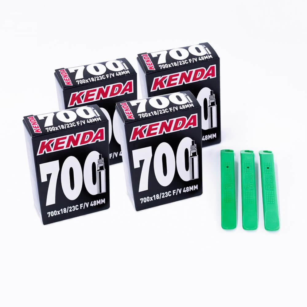 KIT 4 CAMARAS KENDA 700X18/23C PRESTA 48MM + ESPATULA VERDE