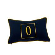 Almofada inicial retângulo: azul marinho com dourado - O