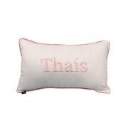 Almofada inicial retângulo: branco com rose - thais
