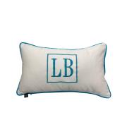Almofada inicial retângulo: branco e azul claro
