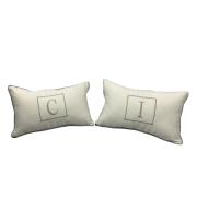 Almofada inicial retângulo: branco e cinza