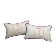Almofada inicial retângulo: branco e rosa