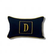 Almofada inicial retângulo: azul e dourado