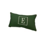 Almofada inicial retângulo: verde com off letra E