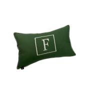Almofada inicial retângulo: verde com off letra F