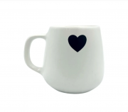 Caneca/xicara cerâmica coração preto
