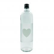 Garrafa de água coração transparente