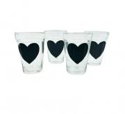 kit 4 copos americanos coração preto