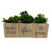 Trio vaso madeira quadrado: Que nunca