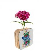 Vaso madeira quadrado: cultive gratidão