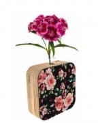 Vaso madeira quadrado: flores
