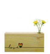 Vaso madeira retangular: love