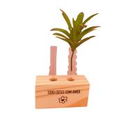 Vaso madeira retangular: tudo cresce com amor