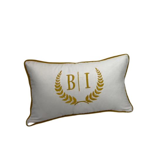 Almofada inicial retângulo: branco com gold - B/I