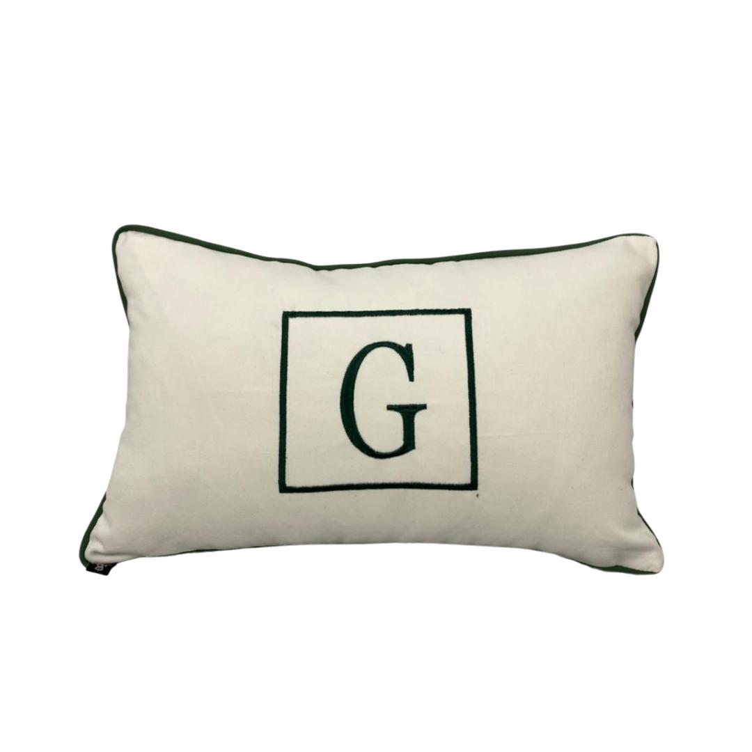 Almofada inicial retângulo: branco e verde