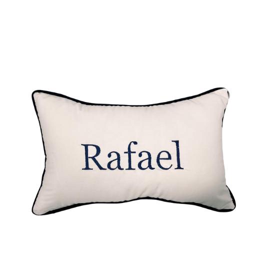 Almofada inicial retângulo: off com azul marinho - RAFAEL