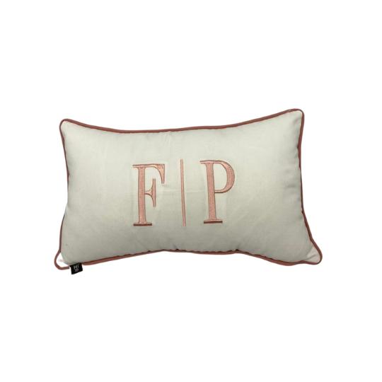 Almofada inicial retângulo: off com rose - F/P