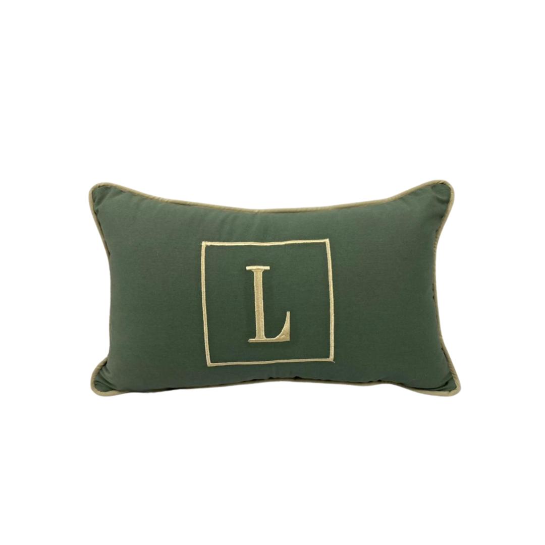 Almofada inicial retângulo: verde e dourado