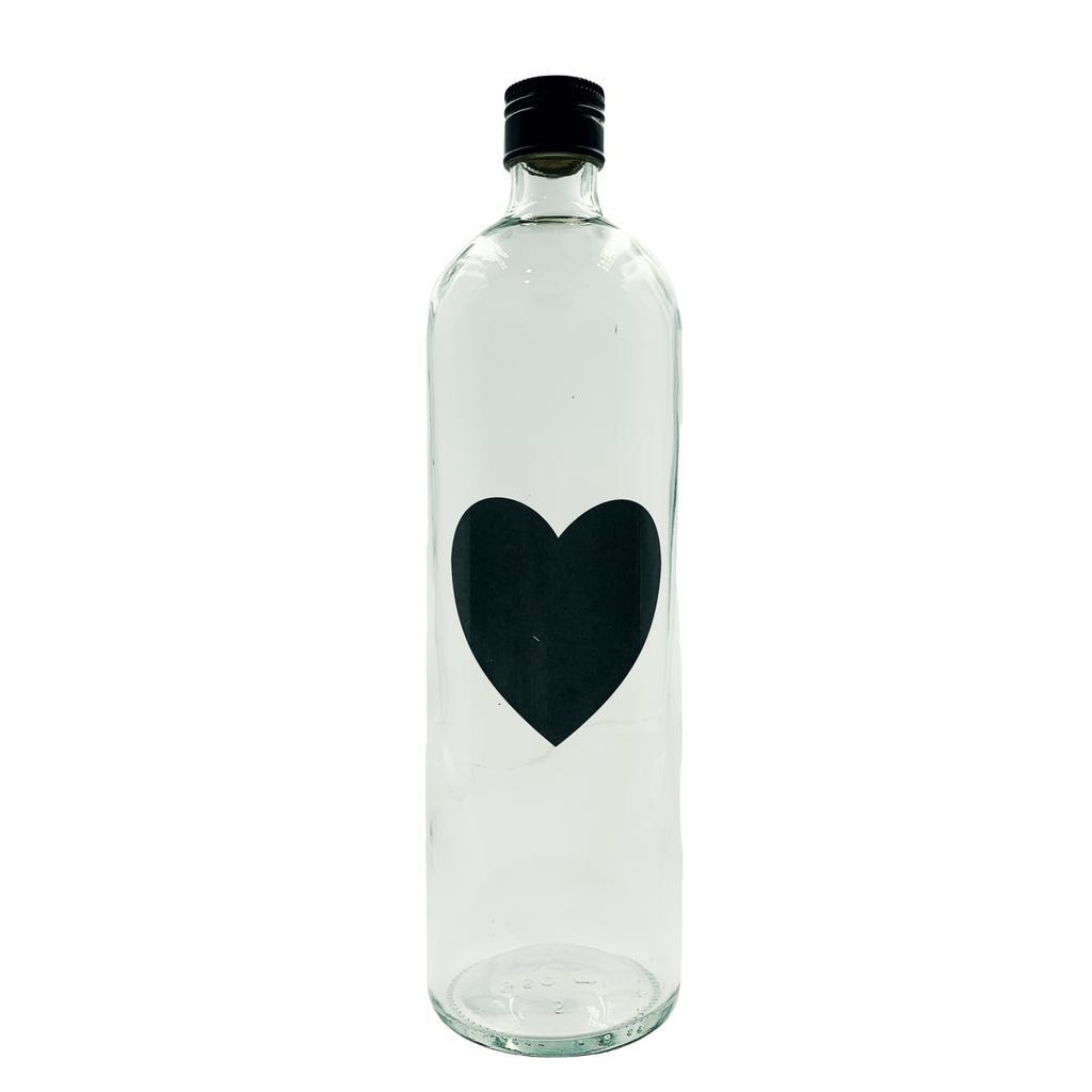 Garrafa de água coração preto