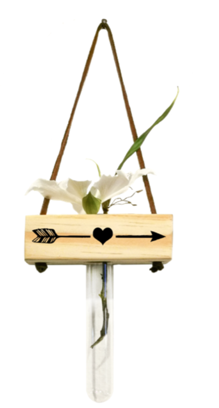 Vaso balanço madeira: coração