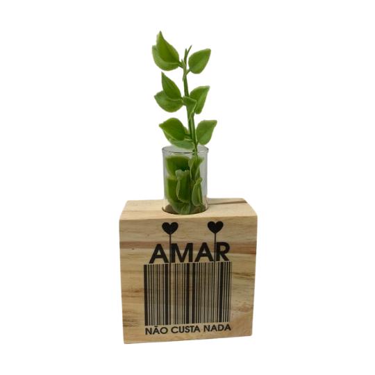 Vaso madeira quadrado: amar