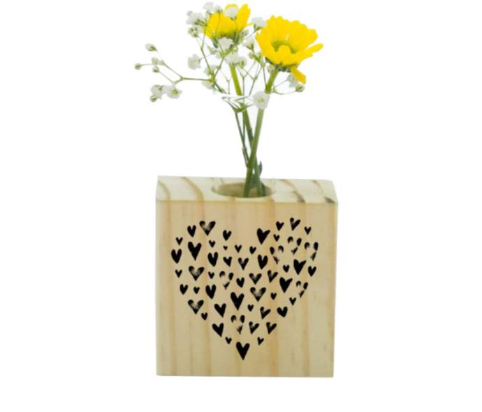 Vaso madeira quadrado: coração