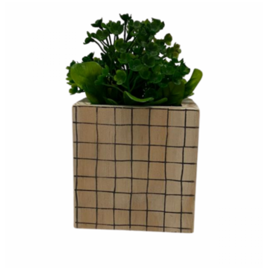 Vaso madeira quadrado: quadriculado