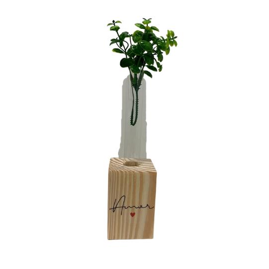 Vaso madeira retangular: amor