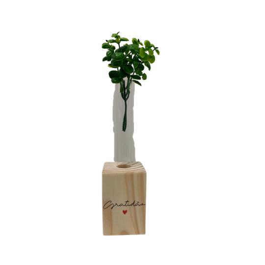 Vaso madeira retangular: gratidão