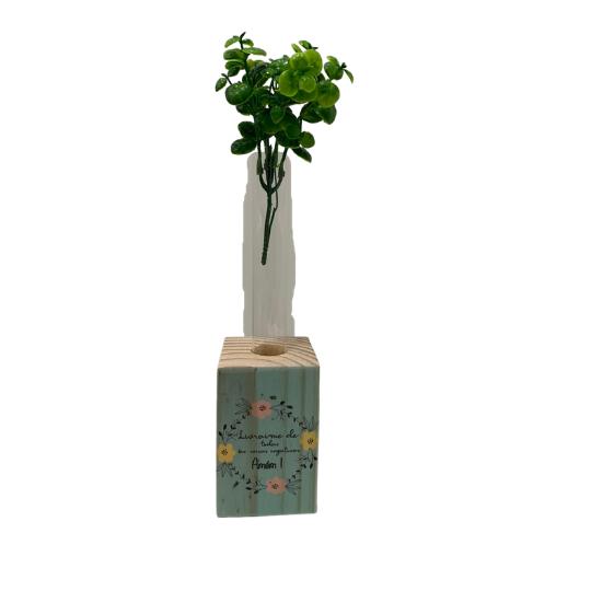 Vaso madeira retangular: livrai-me