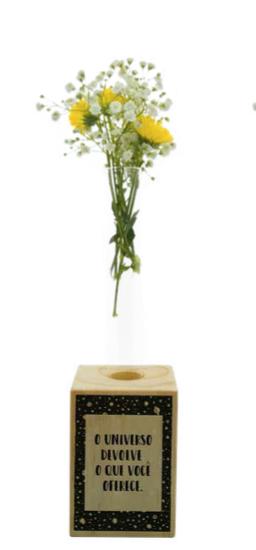 Vaso madeira retangular: universo