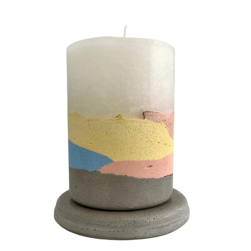 Vela concreto com base: tie dye