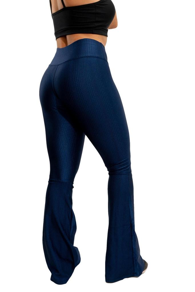 Calça flare texturizada de poliamida  - Lamark Fitness