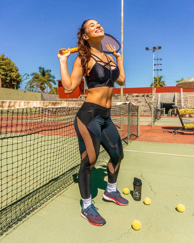 Calça legging com transparência de poliamida  - Lamark Fitness